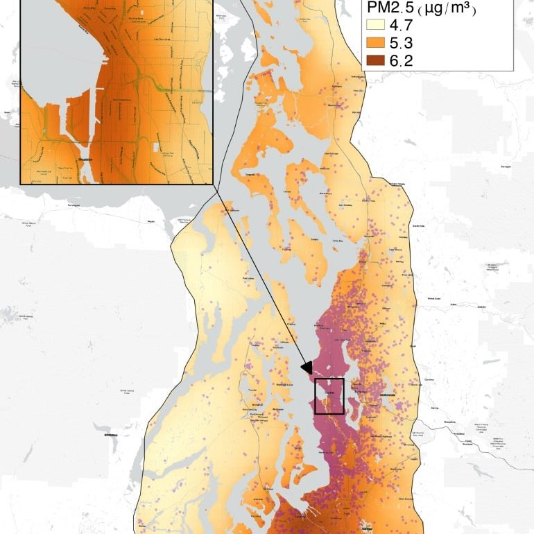 This map shows where high fine particulate pollution is in Puget Sound