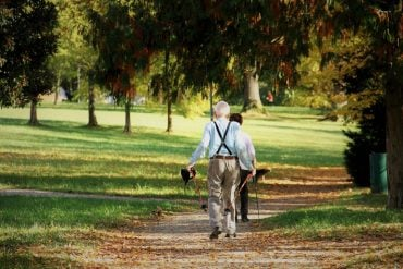 This shows an older couple walking