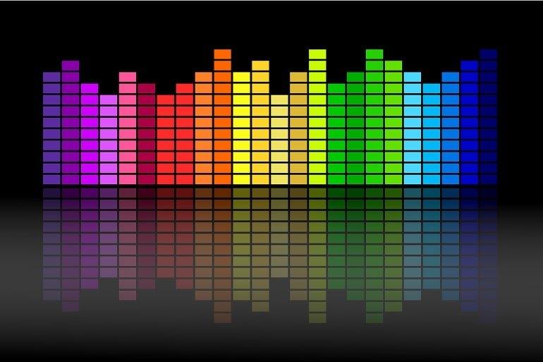 This shows the colored bars of a musical equalizer