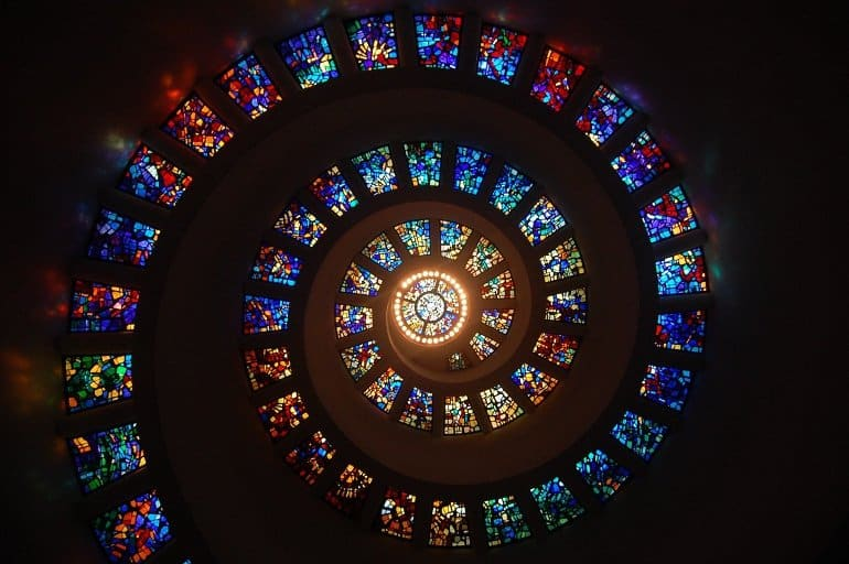 This shows a stained glass window