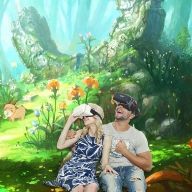 This shows a child and her dad in a VR reality with VR glasses on