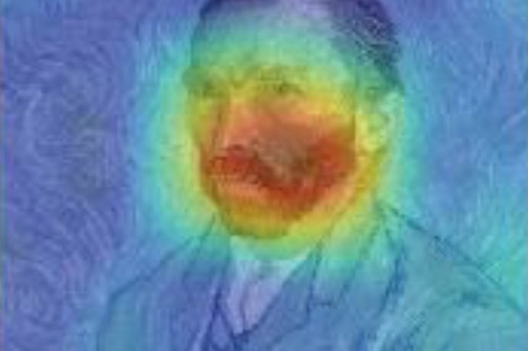 This shows Van Gogh's portrait with the hotspots mapped out