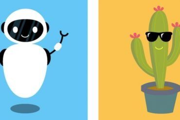 This is a cartoon of a robot and a cactus