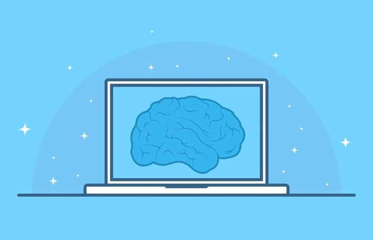 This is a drawing of a brain on a computer screen