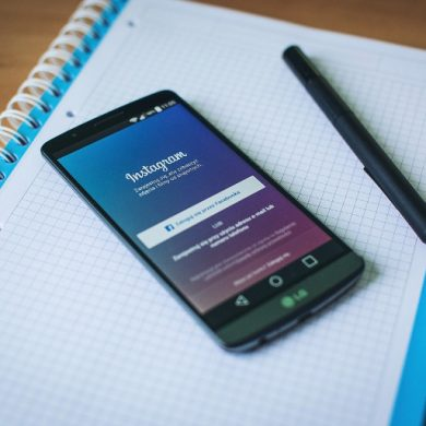 This shows a cell phone with the instagram login page open
