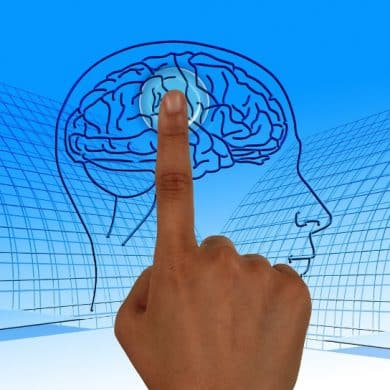 This shows a finger touching a picture of a brain