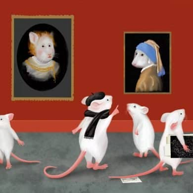 This shows a cartoon of mice at an art gallery