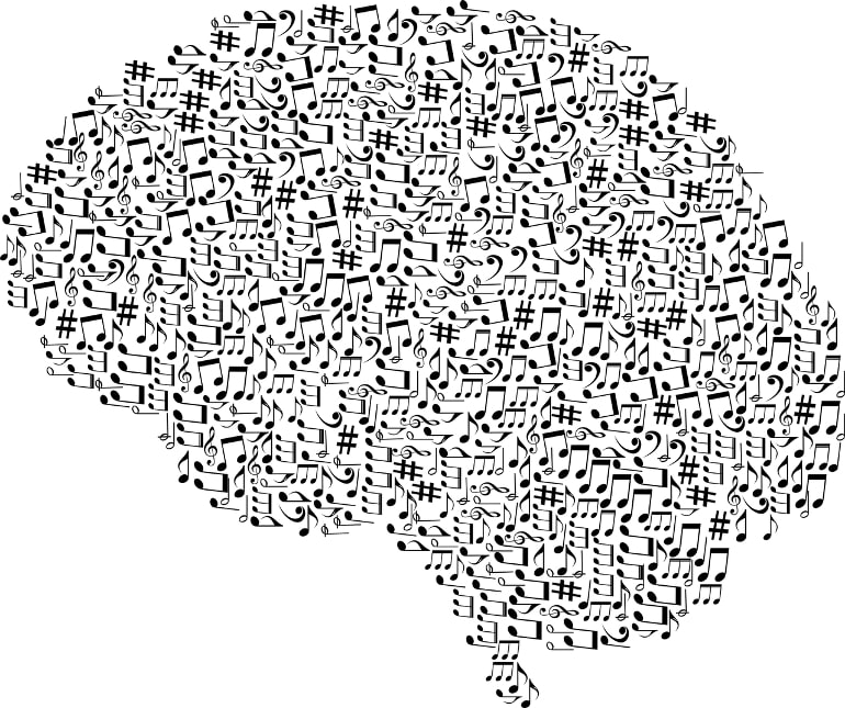 This shows a brain made of music notes