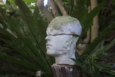 This shows a statue of a head