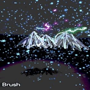 This shows the art work generated of a mountain range and stars