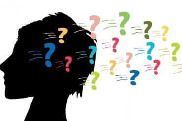 This shows the outline of a woman's head surrounded by question marks