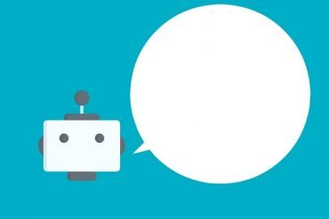 This shows a robot head and a speech bubble