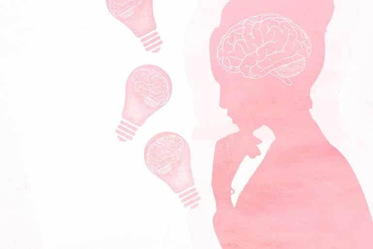 This shows a woman and a brain
