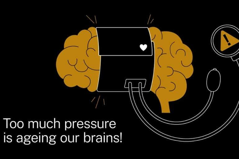 This shows a brain being squeezed by a blood pressure cuff