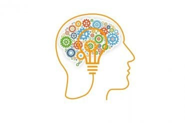 This shows a brain made up of cog wheels and a light bulb