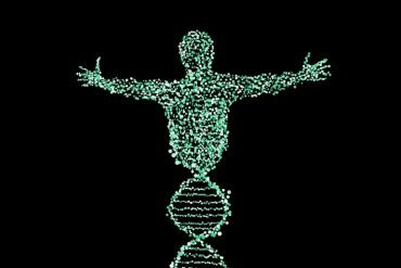 This is a drawing of a person made up of dna strands
