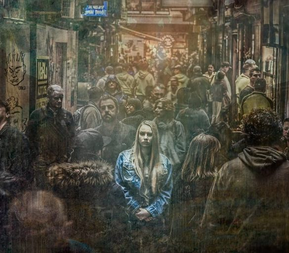 This shows a woman on a busy street