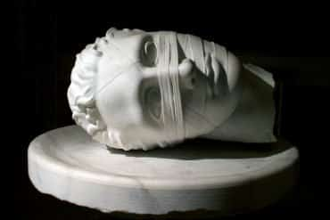 This shows a statue of a person's head