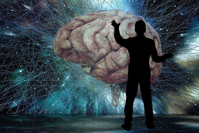 This shows a man looking at a brain