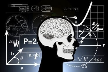 This shows a brain surrounded by math equations