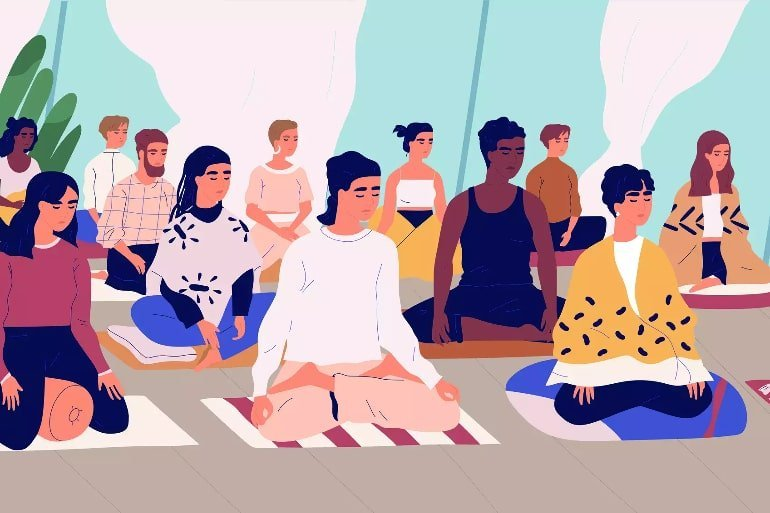 This is a cartoon of people meditating