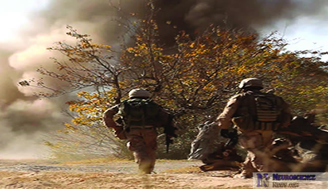 Image of soldiers walking towards a blast.