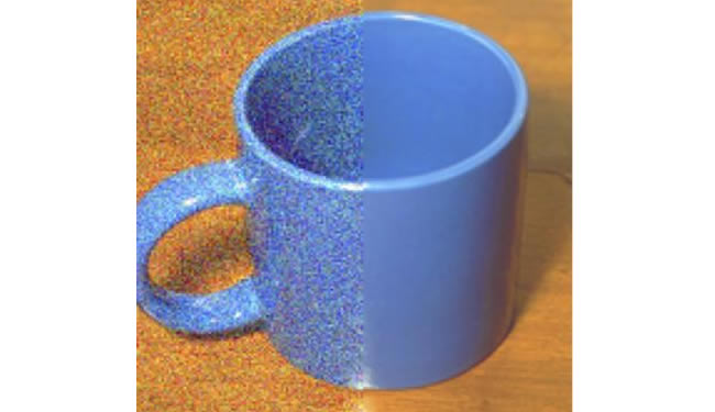 Coffee cup is shown with half of the cup appearing less clear than the other half.