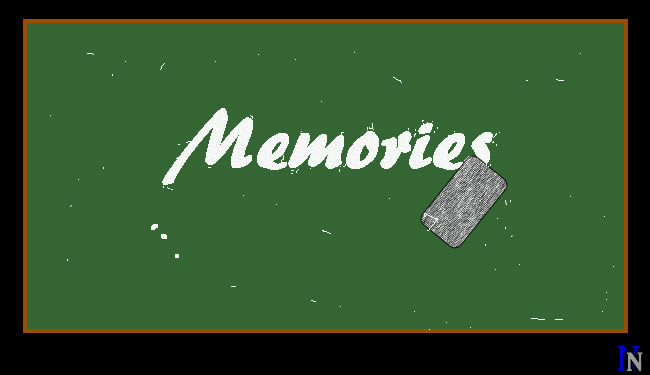 """The word """"memories"""" is being erased on a chalkboard."""