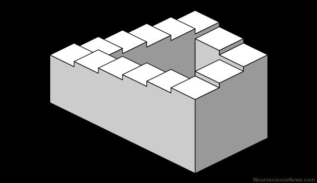 A set of stairs is shown that loops back on itself creating an impossible view.