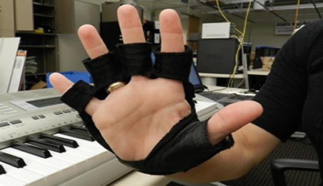 A hand with the musical glove is shown. A synthesizer keyboard is in the background.