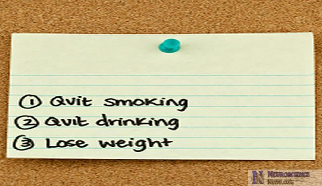 Image of a note on a board saying Quit Smoking, Quit Drinking and Lose Weight.