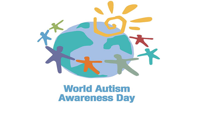 World Autism Awareness Day logo of cartoon kids with outstretched hands circling the earth.